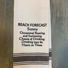 Wild Hare Designs White Cotton Towel - Beach Forecast