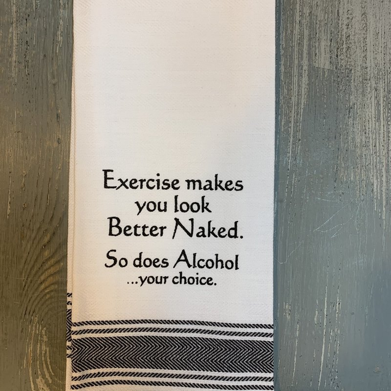 Wild Hare Designs White Cotton Towel - Exercise makes you look better...