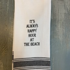Wild Hare Designs White Cotton Towel - It's always happy hour at the beach