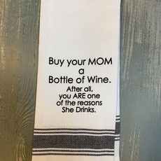 Wild Hare Designs White Cotton Towel - Buy your mom a bottle of wine...