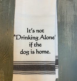 Wild Hare Designs White Cotton Towel - It's not drinking alone if...