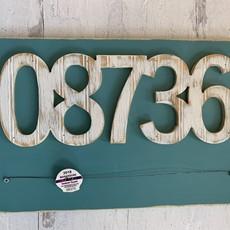 "Wooden ""08736"" Beach Badge Holder - Aqua/White"