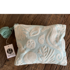 Two's Company Seashore Embroidered Pouch - Seahorse