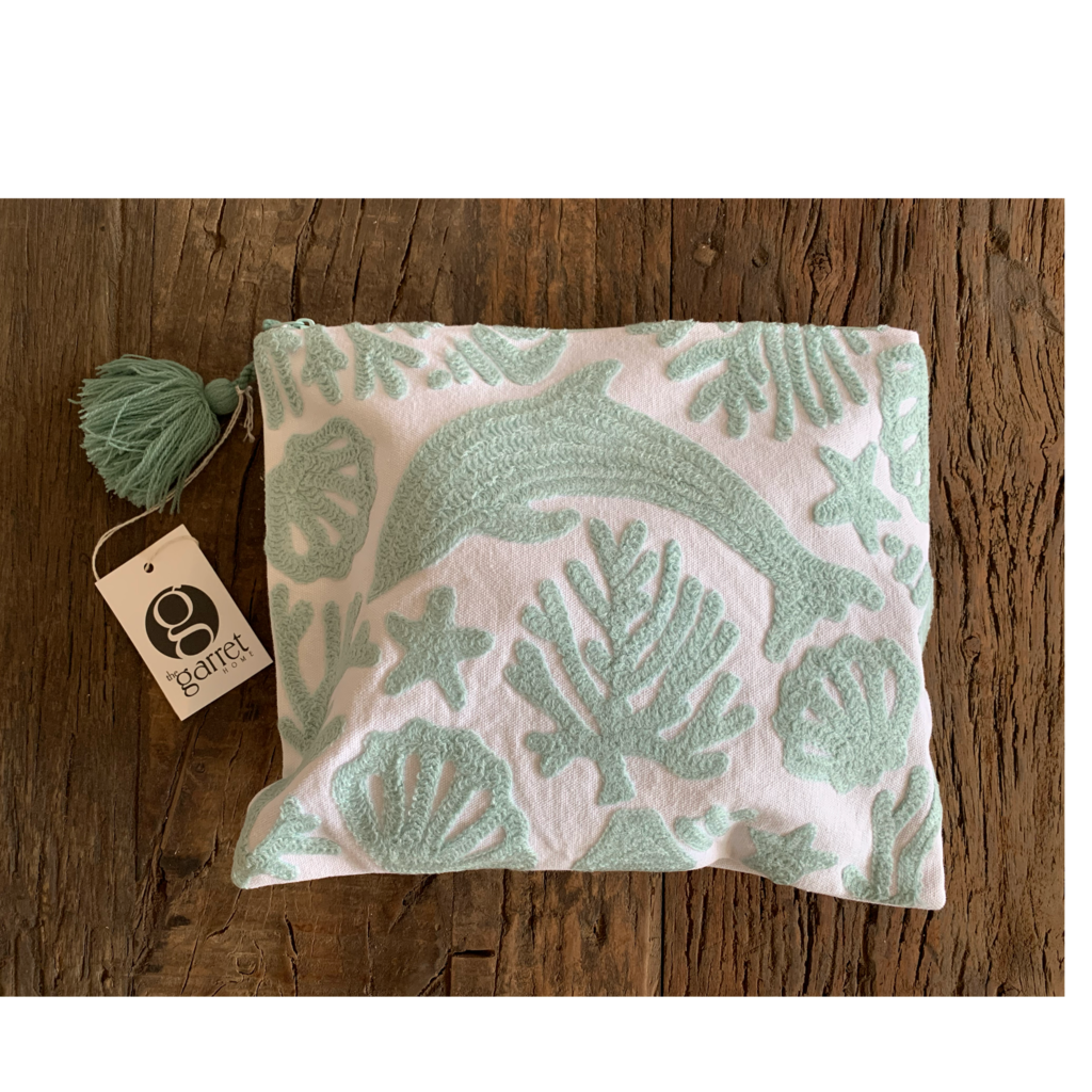 Two's Company Seashore Embroidered Pouch - Dolphin