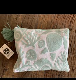 Two's Company Seashore Embroidered Pouch - Sea Turtle