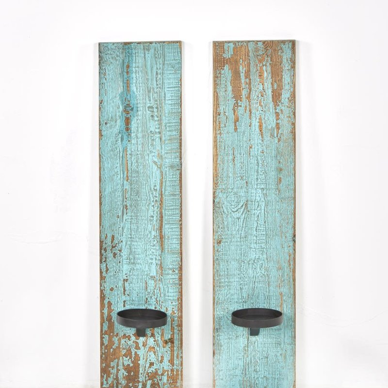Reclaimed Wood Candle Sconce - Antq. Turquoise