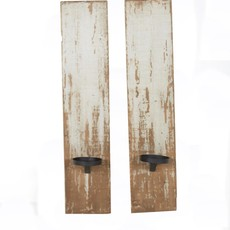 Reclaimed wood candle sconce - Antique White