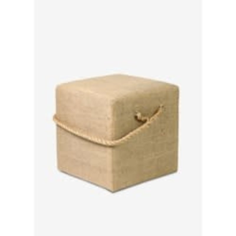 The Garret Burlap Cube w/ rope handle