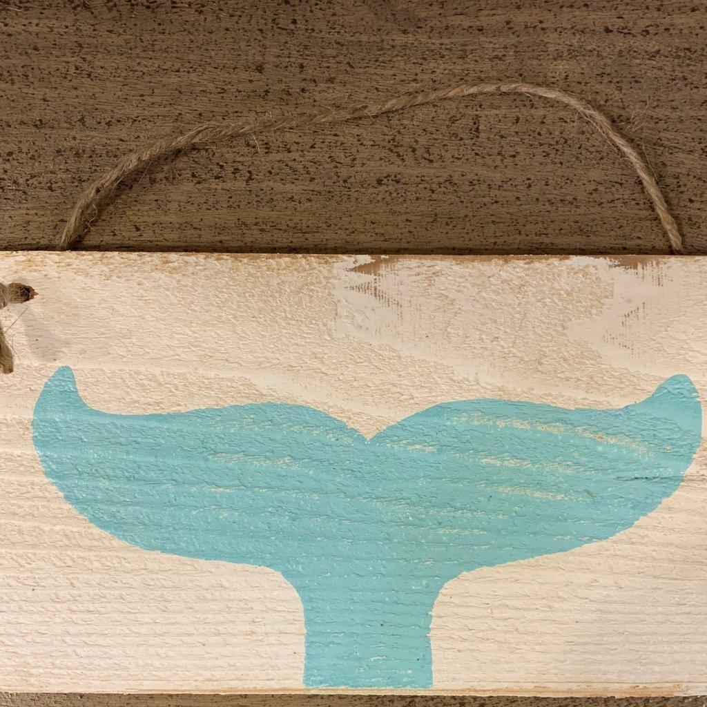 Wood Hanger - Lg Aqua Whale Tale