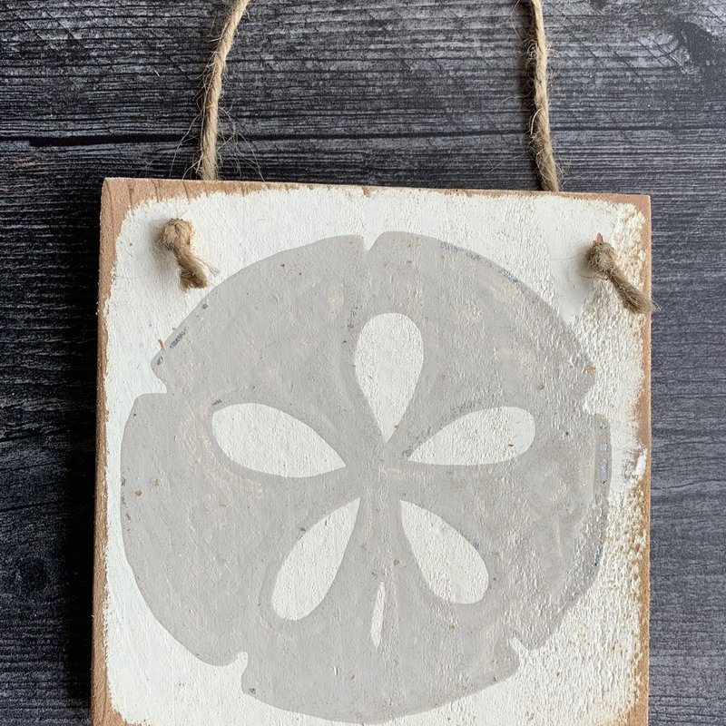 Wood Hanger - Sand dollar - Weathered Wood