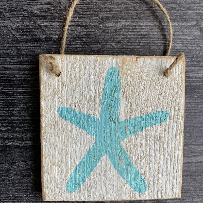 Wood Hanger - Starfish - Sea Wave