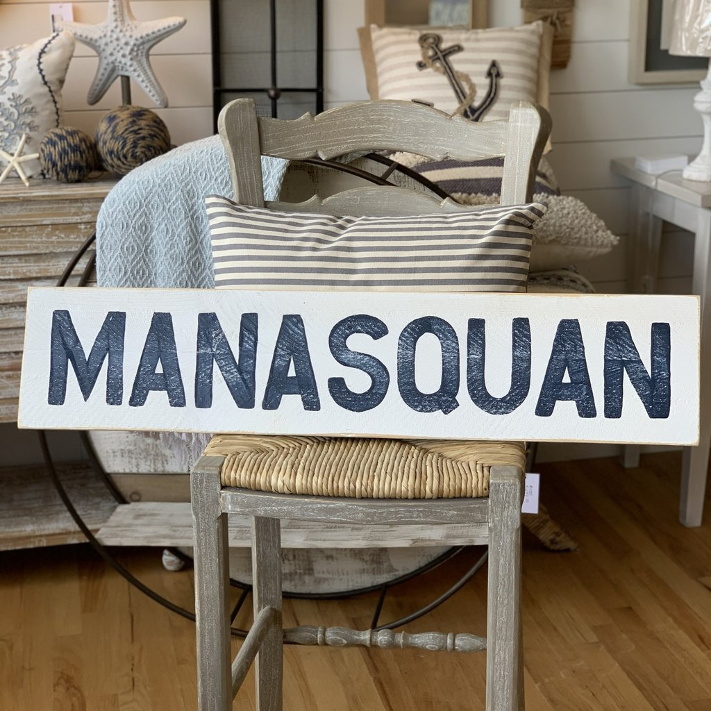 """The Garret Wood """"Manasquan"""" Sign - White w/ navy letters"""