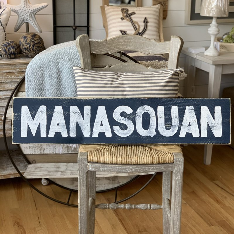"The Garret Wood ""Manasquan"" Sign - Navy w/ White letters"