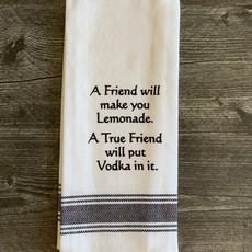 Wild Hare Designs White Cotton Towel - A friend will make you lemonade...