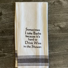 Wild Hare Designs White Cotton Towel - Sometimes I take baths because it's hard to drink...