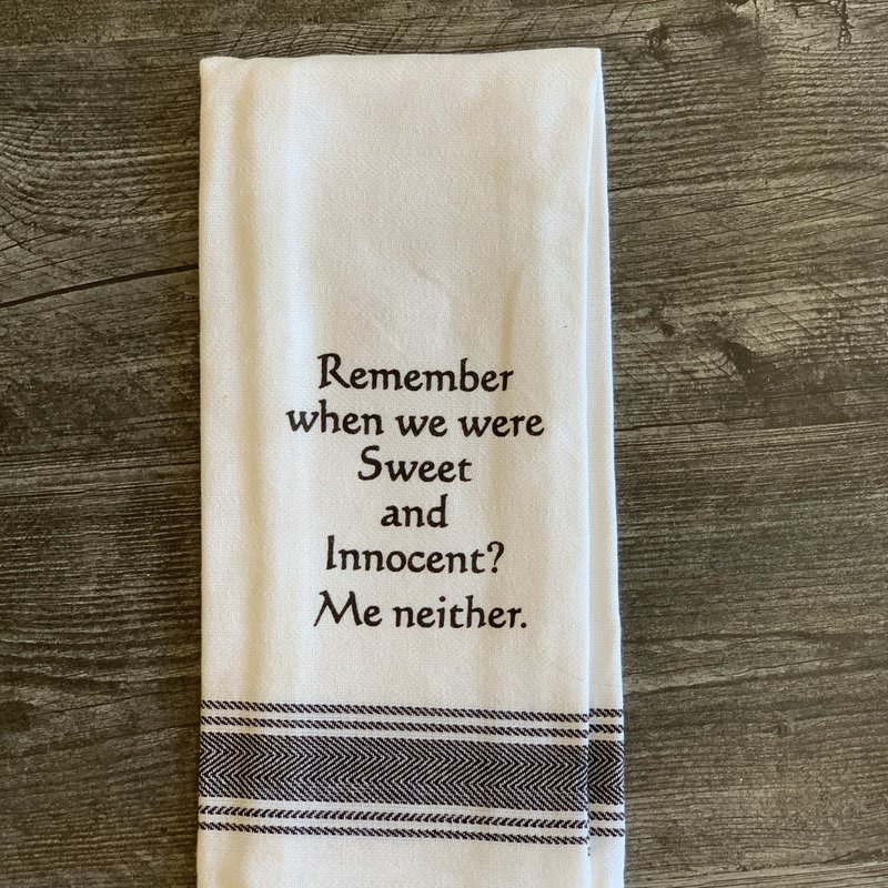 Wild Hare Designs White Cotton Towel - Remember when we were sweet...