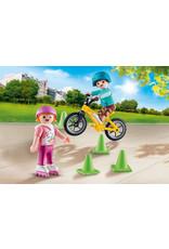 Playmobil Children with Skates & Bike