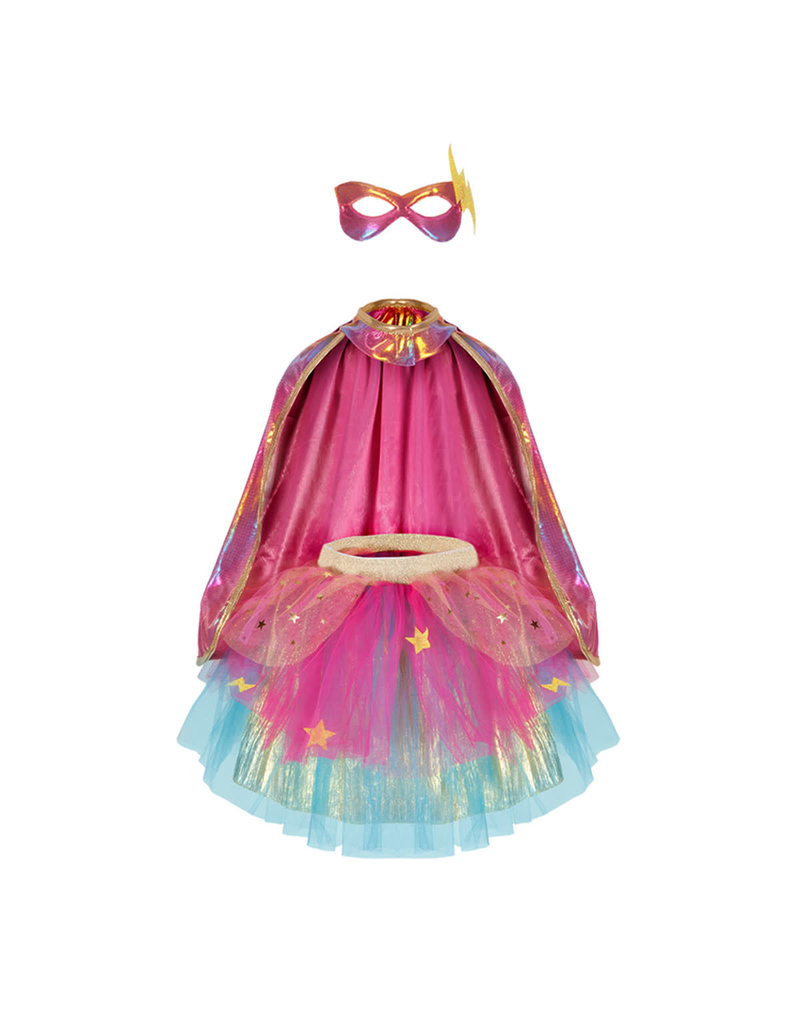 Great Pretenders Super Duper Tutu with Cape & Mask Rainbow pastel color - size 4-6