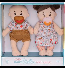 Wee Baby Stella Twins Beige with Brown Hair