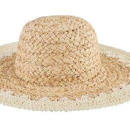 Hat - Paper Straw w/ Crochet Rim