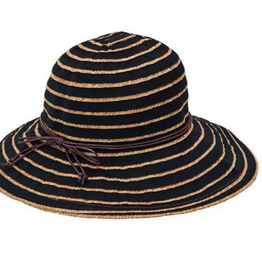 Hat - Ribbon Paperbraid Stripe Black