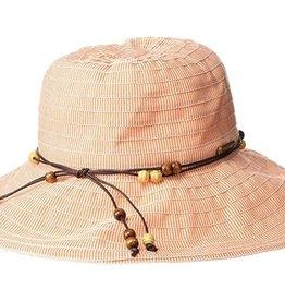 Hat - Ribbon w/ wood bead trim orange