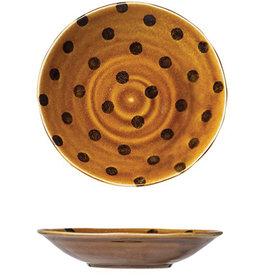 """Bowl - Brown Polka Dot 9"""""""