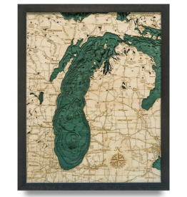 """Lake Michigan Wood Chart 16""""x20"""""""
