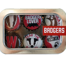 Magnets - Badgers - Recycled Bottle Caps Set/6