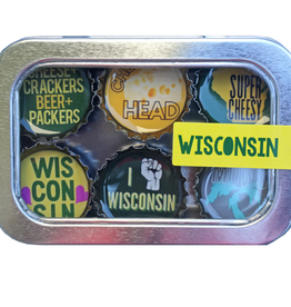 Magnets - Wisconsin - Recycled Bottle Caps Set/6