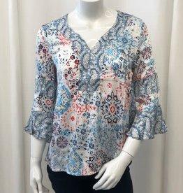 Tribal Tribal 61370 v-neck 3/4 slv blouse