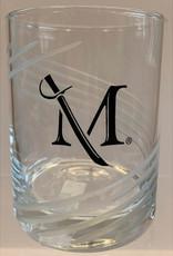 M Sword Swirl Cut Rocks Glass - 14oz