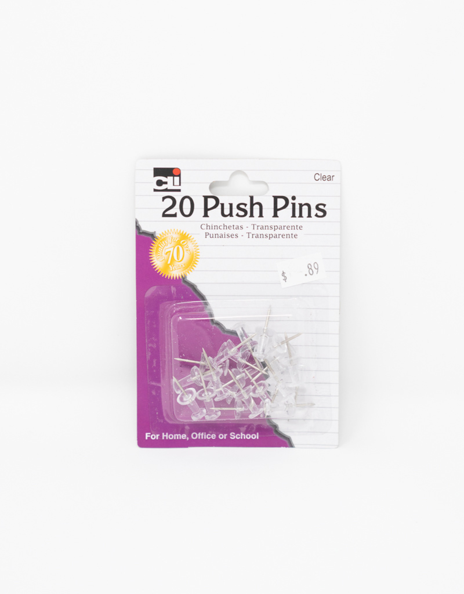 Pushpins - 20, Clear