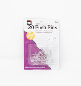 Pushpins - 20, Clear
