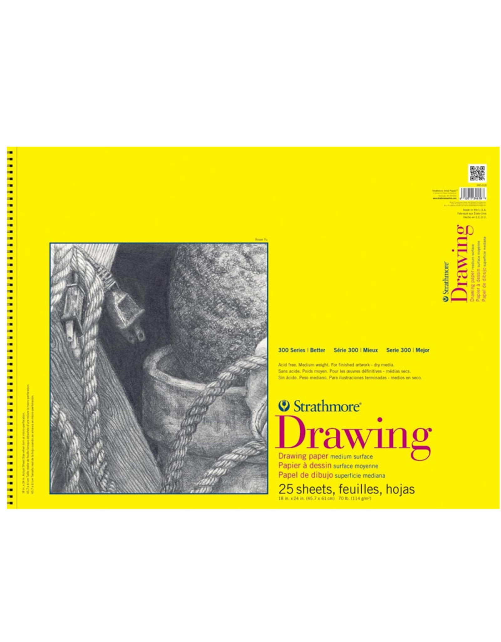 "Drawing Paper Pad - Spiral, 25 sheets, 18"" x 24"""