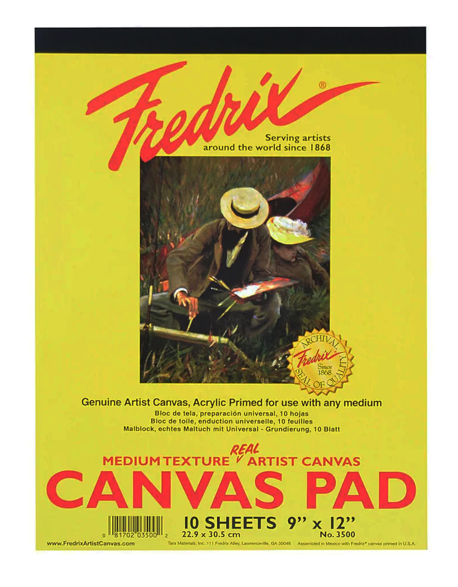 "Fredrix Canvas Pad -  9"" x 12"", 10 Sheets"