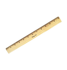 Wood Ruler Metal Edge - 12""
