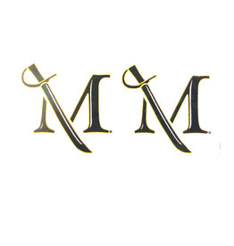 Two M Sword Decals - Mini Black And Gold