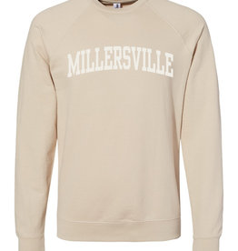 Sanded Crewneck with Ivory Felt Letters