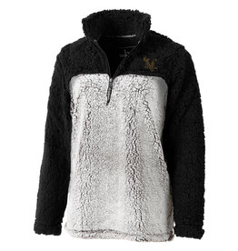 Black and Frosty Grey Sherpa 1/4 Zip
