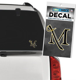 M Sword Decal -  Small Black and Gold