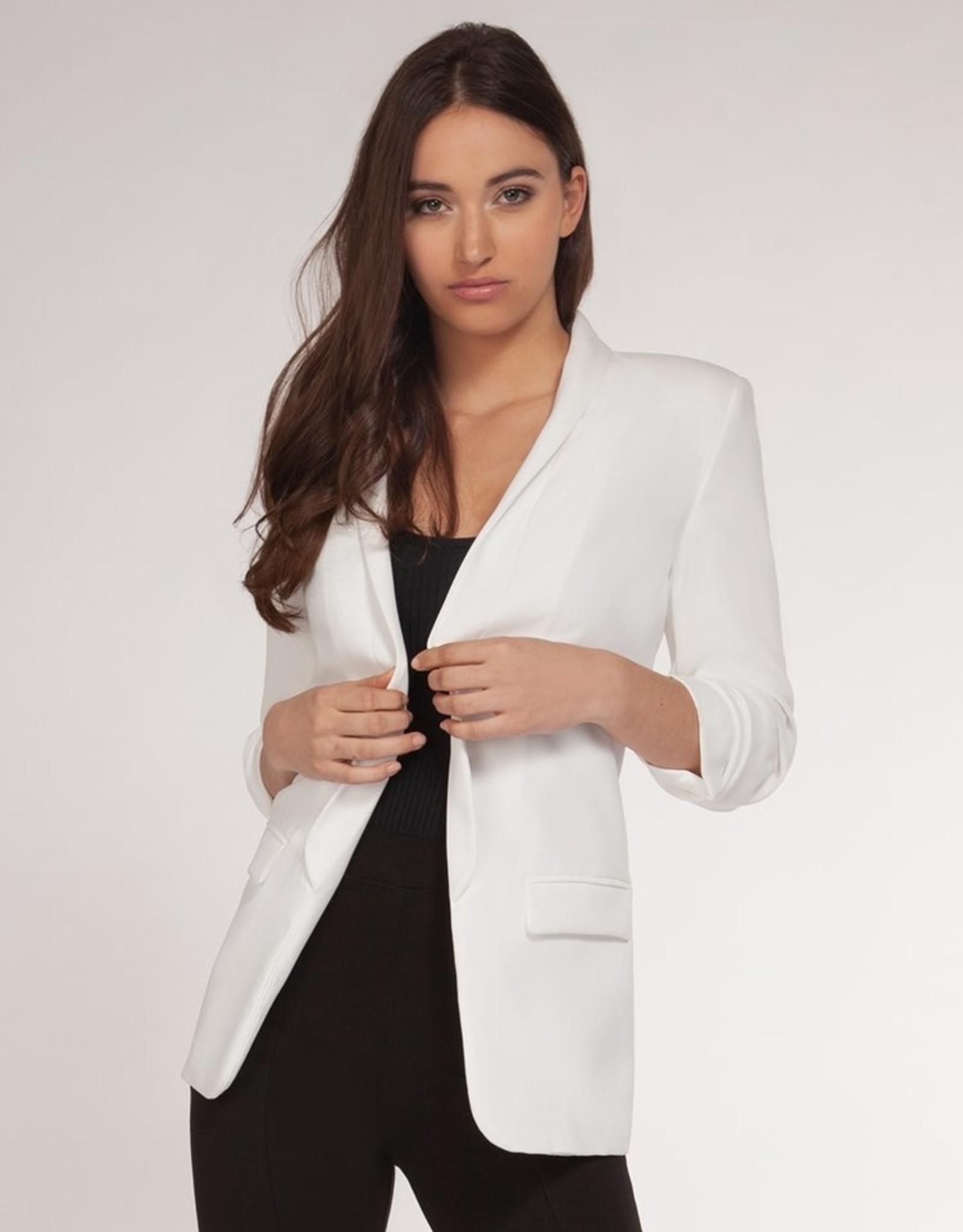 Dex Bros Clothing Co Ltd. 3/4 Ruched Sleeve Open Blazer