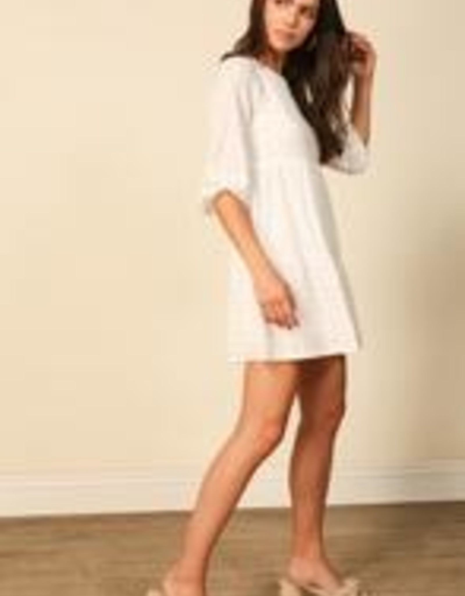 Line and Dot Embroidered mini dress