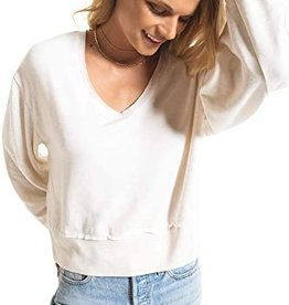 Z Supply Fleece Deep V Neck Pullover