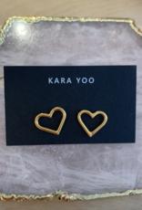 Kara Yoo Heart Studs Gold