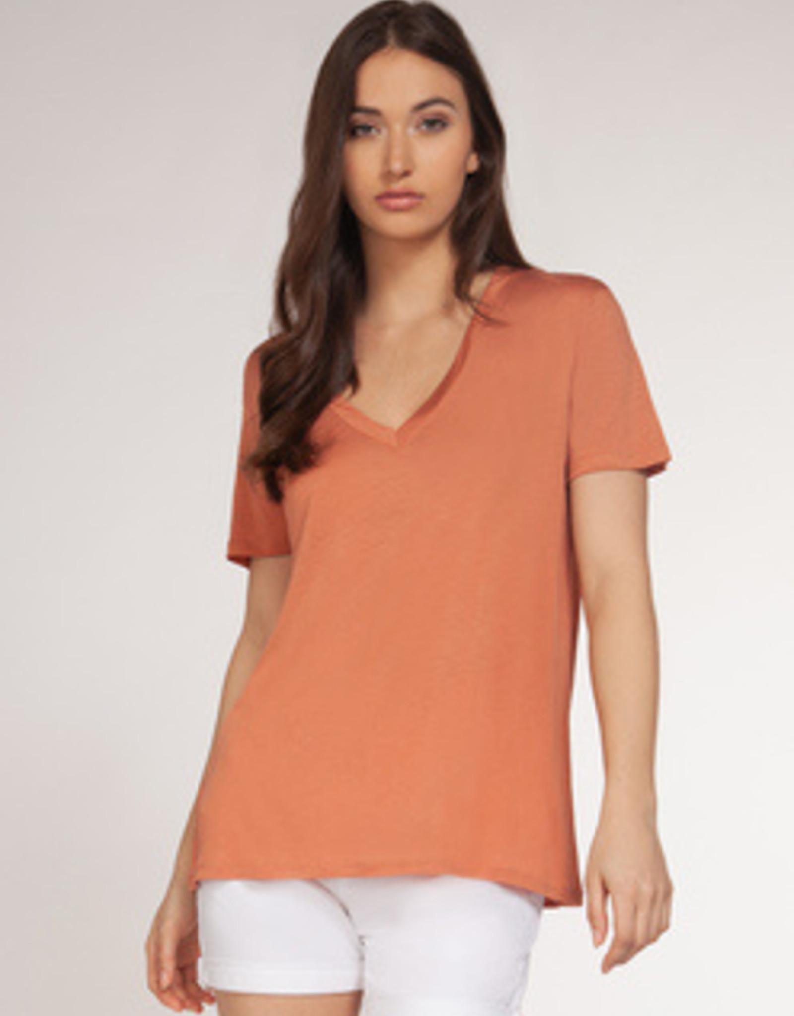 Dex Bros Clothing Co Ltd. Short sleeve v-neck tee, coral