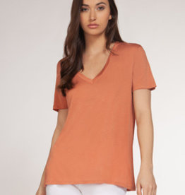 Dex Bros Clothing Co Ltd. Short sleeve v-neck tee, coral
