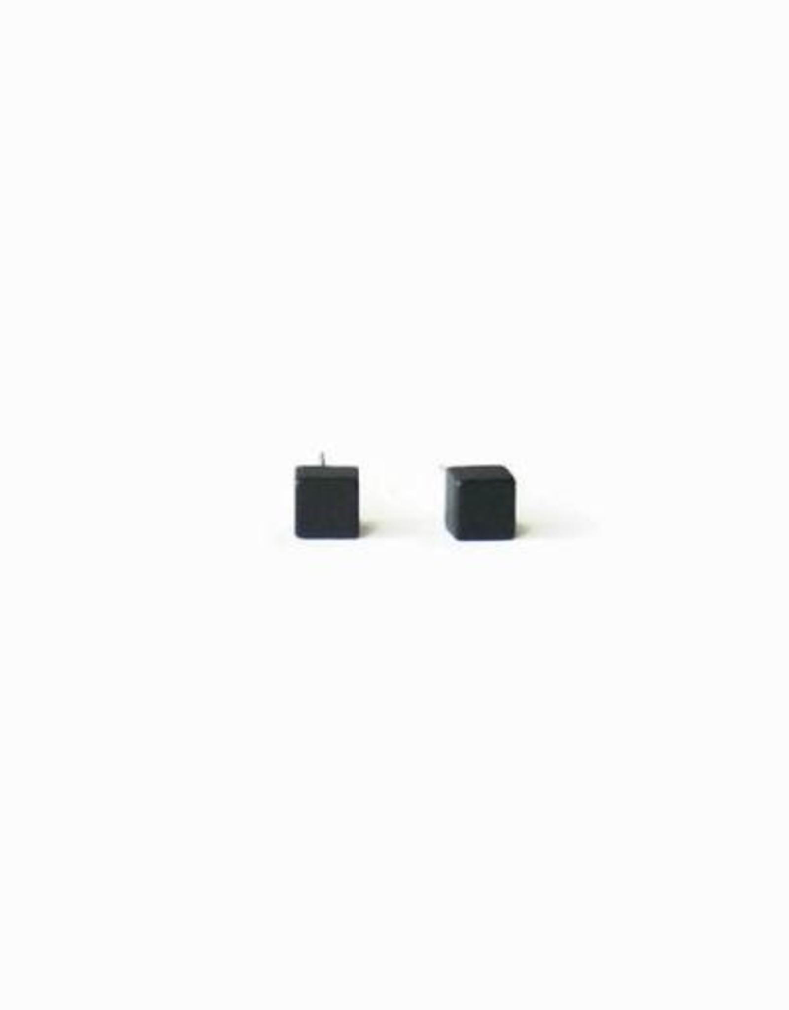 Simple Geometric Black Cube Stud Earrings