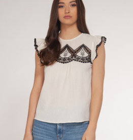 Dex Bros Clothing Co Ltd. Crochet Detail Short Sleeve Top