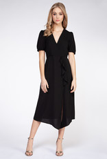 Short Sleeve Frill Midi Dress